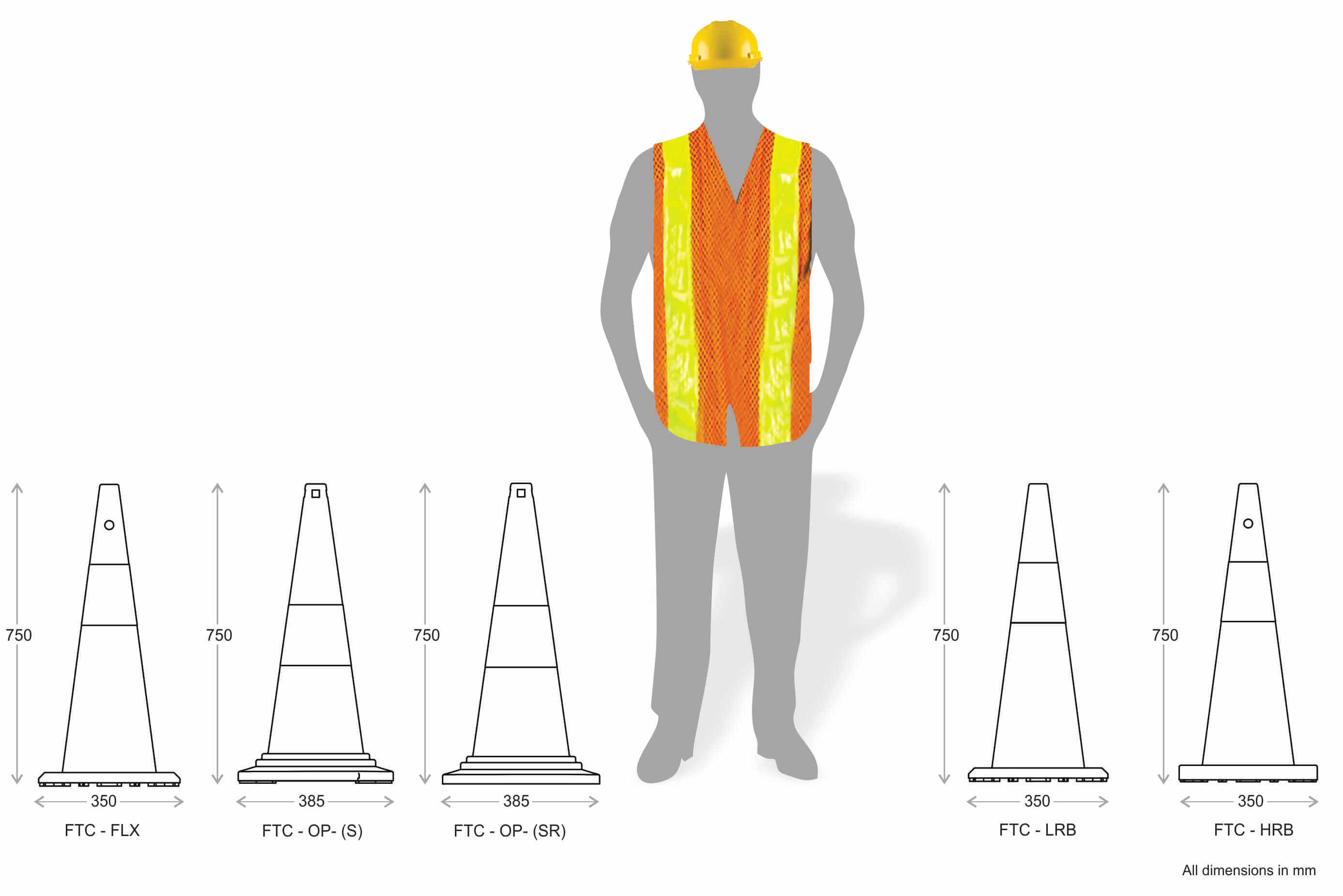 750 mm tall cones